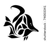 black fish card isolated on...