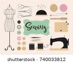 tools and materials sewing and... | Shutterstock .eps vector #740033812