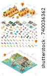set of isometric high quality... | Shutterstock .eps vector #740036362