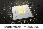3d render of computer chip over ... | Shutterstock . vector #740039656