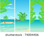 set of vertical tropical banners | Shutterstock .eps vector #74004406