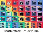 flat movie clapperboard symbol. ...   Shutterstock .eps vector #740044606