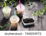 variety of bubble tea in...   Shutterstock . vector #740053972