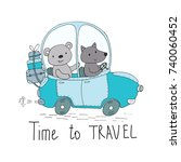 time to travel vector card with ... | Shutterstock .eps vector #740060452