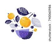 stylized yellow ripe apples ...   Shutterstock .eps vector #740060986