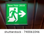 the emergency exit sign shows... | Shutterstock . vector #740061046