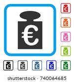 euro weight icon. flat grey...