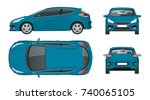 sportcar or hatchback vehicle.... | Shutterstock .eps vector #740065105