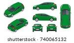 sportcar or hatchback vehicle.... | Shutterstock .eps vector #740065132