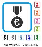 euro honor medal icon. flat...   Shutterstock .eps vector #740066806