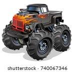 cartoon monster truck.... | Shutterstock .eps vector #740067346
