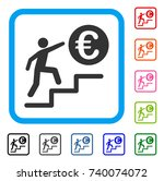 euro business steps icon. flat... | Shutterstock .eps vector #740074072