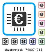 euro chip icon. flat gray...
