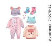 a set of baby clothes painted... | Shutterstock . vector #740075482