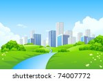 green landscape with trees... | Shutterstock .eps vector #74007772