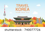 travel korea template vector... | Shutterstock .eps vector #740077726