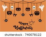 happy halloween greeting card... | Shutterstock .eps vector #740078122