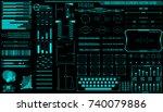 hud hologram futuristic... | Shutterstock .eps vector #740079886