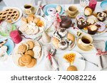 overview of various pastry and...   Shutterstock . vector #740082226