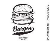 burger fast food. logotype | Shutterstock .eps vector #740084272