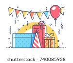 gifts for holiday with balloon | Shutterstock .eps vector #740085928