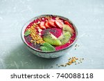 acai smoothie bowl with chia... | Shutterstock . vector #740088118