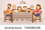 christmas   thanksgiving... | Shutterstock .eps vector #740088208
