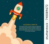 space rocket launch. project... | Shutterstock . vector #740089672