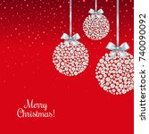 xmas postcard with balls with... | Shutterstock .eps vector #740090092