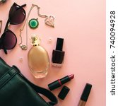 flat lay of woman accessories... | Shutterstock . vector #740094928