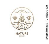vector logo of nature elements... | Shutterstock .eps vector #740099425