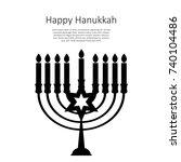 happy hanukkah  jewish holiday... | Shutterstock .eps vector #740104486