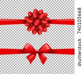 red ribbon bow set in... | Shutterstock .eps vector #740105668