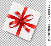 gift box with red bow with... | Shutterstock .eps vector #740105692