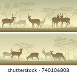 set of horizontal wide banners... | Shutterstock .eps vector #740106808