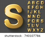 set of golden luxury 3d... | Shutterstock .eps vector #740107786