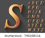 set of golden luxury 3d... | Shutterstock .eps vector #740108116