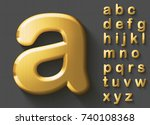 set of golden luxury 3d... | Shutterstock .eps vector #740108368