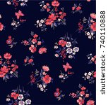trendy seamless floral pattern... | Shutterstock .eps vector #740110888