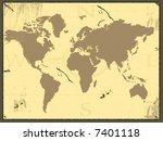 grunge vintage world map | Shutterstock . vector #7401118