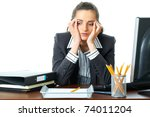 young attractive tired ... | Shutterstock . vector #74011204