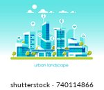 smart city flat. cityscape... | Shutterstock .eps vector #740114866