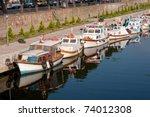 Vintage motor boats in Chanakkale, Turkey - stock photo