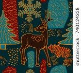 christmas pattern design. deer... | Shutterstock .eps vector #740124328