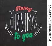 typographic christmas design  ... | Shutterstock .eps vector #740124436