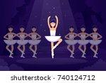 ballet vector flat illustration ... | Shutterstock .eps vector #740124712