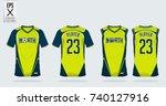 blue and green t shirt sport... | Shutterstock .eps vector #740127916