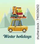 winter holidays. winter... | Shutterstock .eps vector #740130652