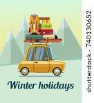 winter holidays. winter... | Shutterstock .eps vector #740130652