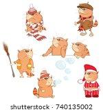 set  cartoon illustration. a... | Shutterstock .eps vector #740135002